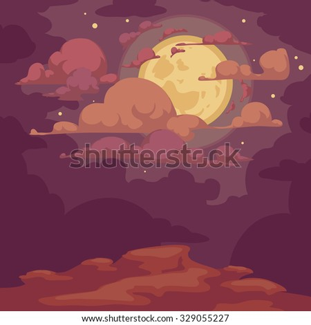 Fantasy landscape at night with moon, stars and clouds, vector cartoon illustration - stock vector