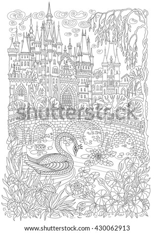 Fantasy landscape. Fairy tale castle. Fantastic water plant, lotus flower, . Stylized swan bird, lake, medieval stone bridge T-shirt print. Album cover.Coloring book page for adults.Black White doodle - stock vector