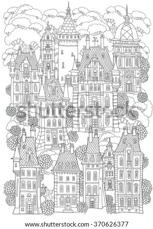 Fantasy landscape. Fairy tale castle, old medieval town, park trees. Hand drawn sketch, house and tower silhouette. T-shirt print. Album cover. Coloring book page for adults. Black and white doodle - stock vector