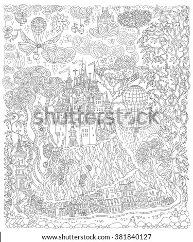 Fantasy landscape. Fairy tale castle on a hill. Fantastic apple tree, garden flower. Flying air balloon, butterfly, thunder cloud. T-shirt print. Album cover.Coloring book page for adults. Black White - stock vector