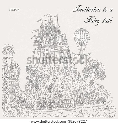 Fantasy landscape. Fairy tale medieval castle on a hill. Fantastic oak tree, old street, lighthouse. Flying air balioon. T-shirt print. Album cover, invitation card. Coloring book page.Black and white - stock vector