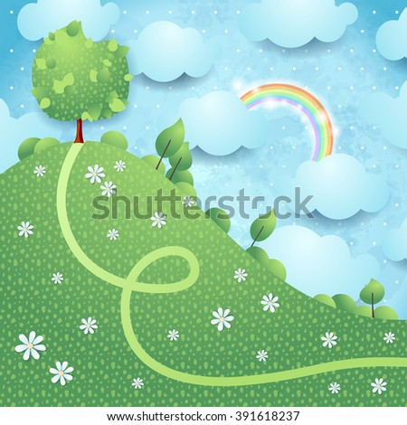 Fantasy landscape with big tree, vector illustration  - stock vector