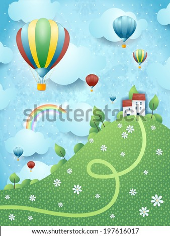 Fantasy landscape with hill and hot air balloons, vector  - stock vector