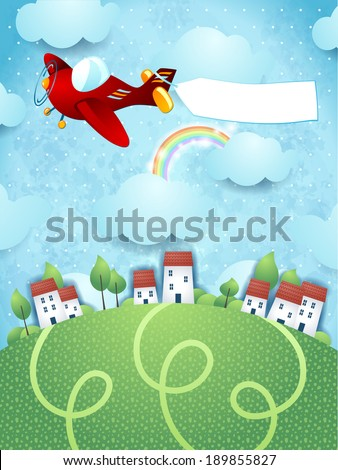 Fantasy landscape with plane and banner, vector - stock vector