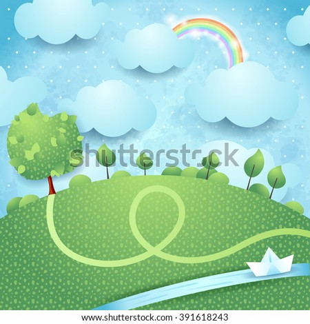 Fantasy landscape with river and big tree, vector illustration - stock vector