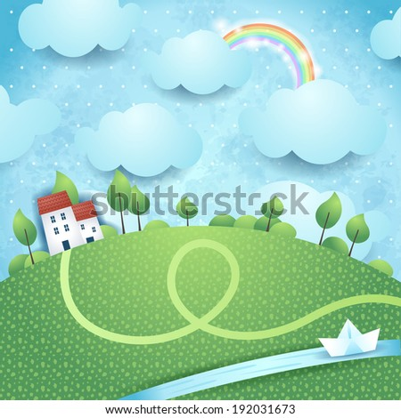 Fantasy landscape with river, vector  - stock vector