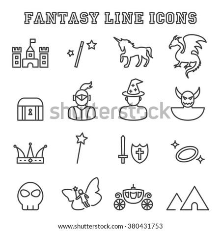 fantasy line icons, mono vector symbols - stock vector