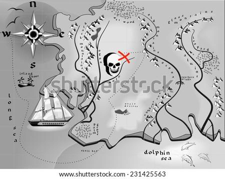 fantasy map treasures with a skull in a vector - stock vector