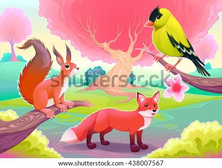 Fantasy natural scenery with funny animals. Vector cartoon illustration. - stock vector