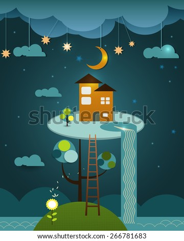 Fantasy of orange color home above the tree. Blue night sky background. Abstract image paper cut with cloud,moon,star,water fall,trees and hill. Illustration vector house on peaceful landscape - stock vector