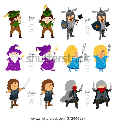 Fantasy RPG cartoon characters. Vector illustration isolated on white background. Flat icons of cleric, knight, warrior, wizard, rogue, ranger. - stock vector