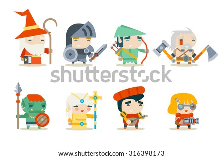 Fantasy RPG Game Character Icons Set Vector Illustration - stock vector