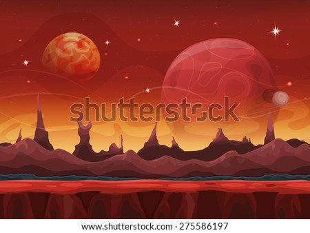Fantasy sci-fi Martian Background For UI Game. Illustration of a cartoon funny sci-fi alien planet landscape background, with layers for parallax, weird mountains range, stars and planets for UI game - stock vector