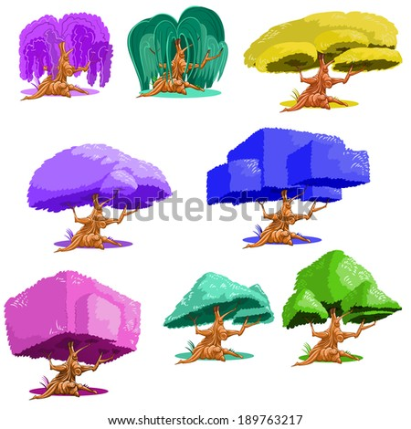 fantasy trees set isolated on white background - stock vector