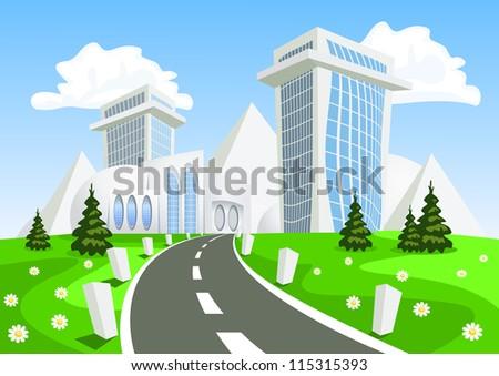 Fantasy Vector city - summer. Vector art - stock vector