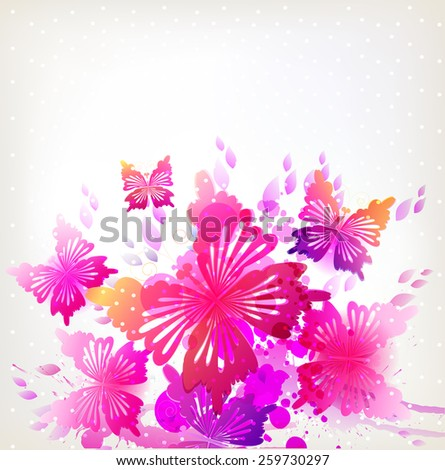 Fantasy Watercolor vector background with colorful butterflies. - stock vector