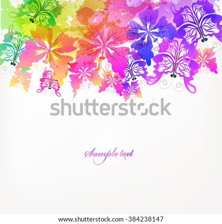 Fantasy Watercolor vector background with colorful butterflies and blots. Abstract floral elements . - stock vector