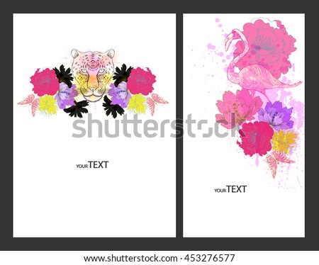 Fantasy Watercolor vector background with colorful flower and animals. Abstract floral elements .Rainbow Colorful Banner Design  - stock vector