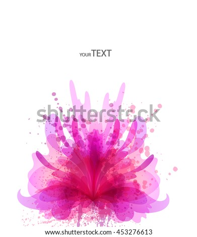 Fantasy Watercolor vector background with colorful flower and blots. Abstract floral elements .Colorful Banner Design  - stock vector
