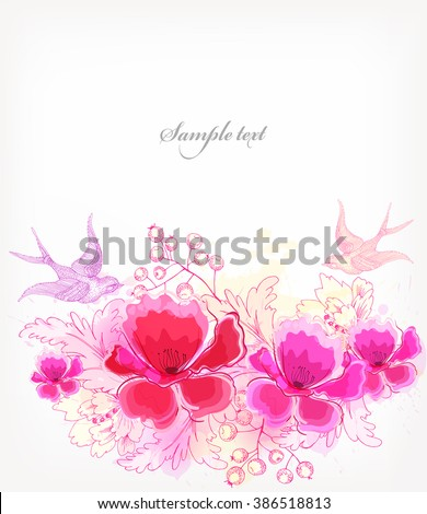 Fantasy Watercolor vector background with colorful flowers and blots. Abstract floral elements .Floral invitation. - stock vector