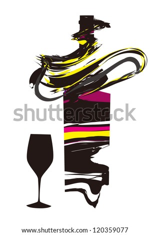 Fantasy Wine with bottle and a wine glass. - stock vector