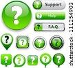FAQ green web buttons for website or app. Vector eps10. - stock vector