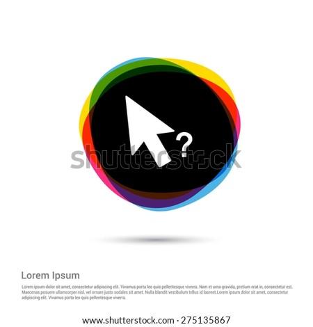 faq mouse arrow icon, White pictogram icon creative circle Multicolor background. Vector illustration. Flat icon design style - stock vector