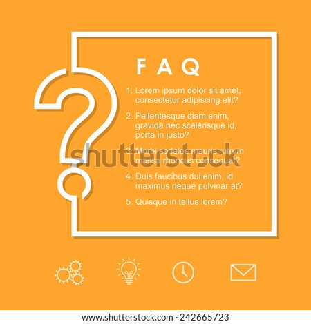 FAQ / Question sign on a yellow background. Vector frame/background template for layout and design. - stock vector