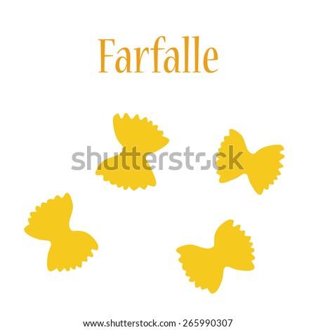 Farfalle pasta vector isolated, macaroni icon, pasta collection - stock vector