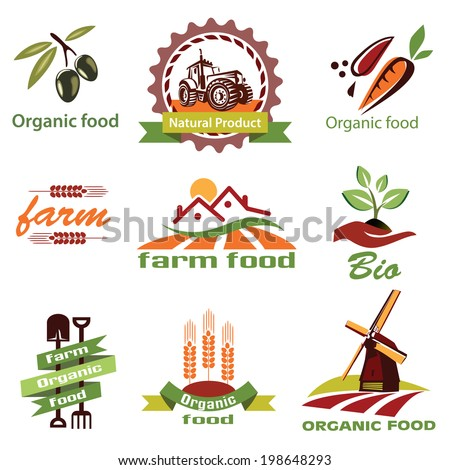 farm, agriculture icons, labels collection, set#1 - stock vector