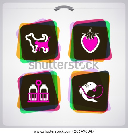 Farm (agriculture) signs, from left to right, top to bottom -  Dog and Cat, Strawberry, Milk, Fish.  - stock vector