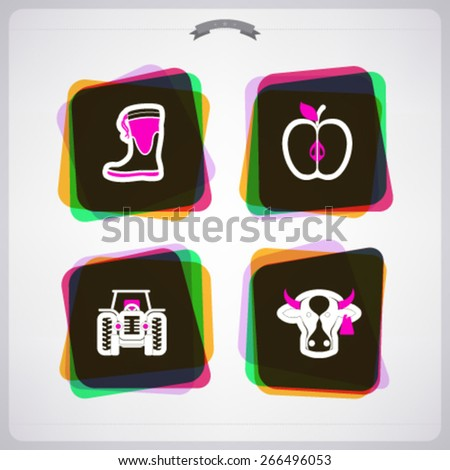 Farm (agriculture) signs, from left to right, top to bottom -  Wellington boot, Apple, Tractor, Cow.  - stock vector