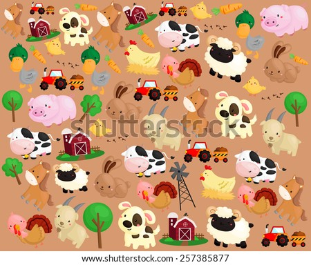 farm animal background - stock vector