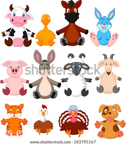 Farm animal cartoon collection - stock vector