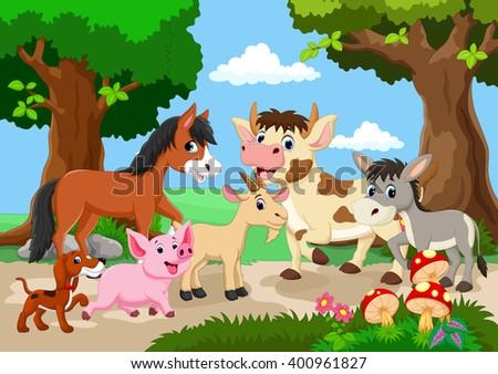 Farm animal playing in a beautiful garden  - stock vector