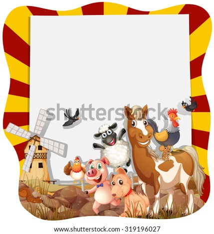 Farm animals around the frame illustration - stock vector