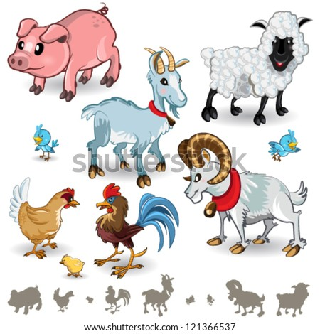 Farm Animals Collection Set 01 - stock vector
