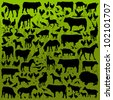 Farm animals detailed silhouettes illustration collection background vector - stock vector