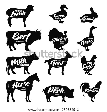 Farm animals icon set. Butchery logo and label collection. Vector illustration isolated - stock vector