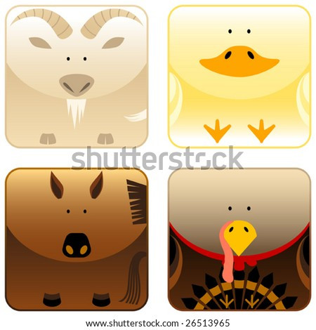Farm animals icon set 3, goat, duck, horse, turkey, vector - stock vector