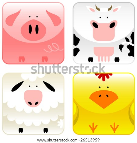 Farm animals icon set 1, pig, cow, sheep, chicken, vector - stock vector