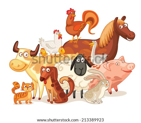 Farm Animals, posing together. Funny cartoon character. Vector illustration. Isolated on white background. Set - stock vector