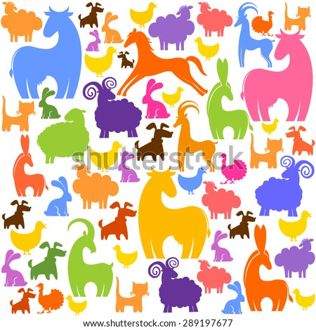 Farm animals seamless pattern. Vector Illustration - stock vector