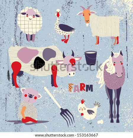 Farm animals set - stock vector
