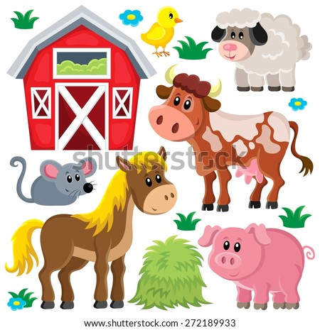 Farm animals set - eps10 vector illustration. - stock vector
