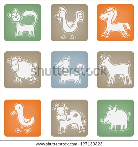 Farm animals set, hand drawn sketch doodle icons, vector isolated white elements on colorful background - stock vector