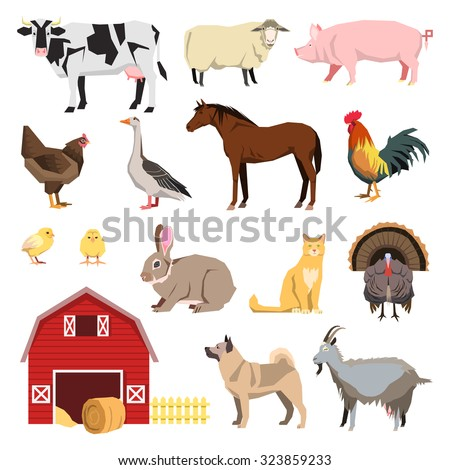 Farm animals set in flat style and related items. Cow, sheep, dog, cat, goat, horse, turkey, goose, rooster,  chick, chicken, pig, rabbit. vector illustration. - stock vector