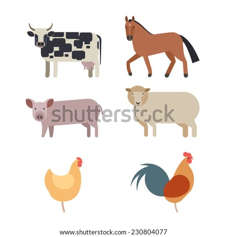 Farm animals set in flat vector style with a chicken hen cock pig sheep beef dairy cow horse  - stock vector