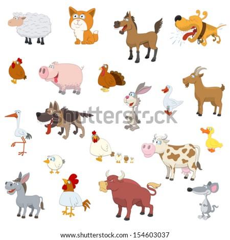 Farm animals set on white background - stock vector
