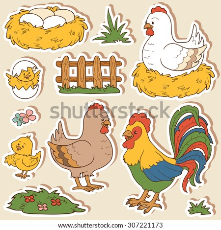 Farm animals set, vector stickers with chicken family and farm items - stock vector